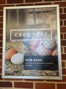 A sign hung in the Arkansas Tech cafeteria, proclaiming their use of cage-free eggs.
