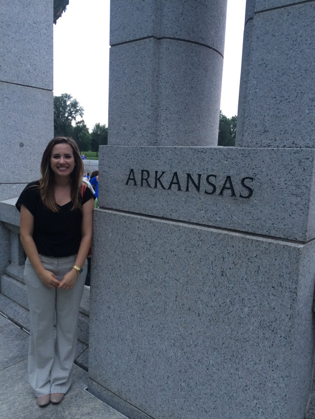 I had to get a picture with my state's name at the World War II Memorial monument.