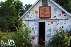 A front view of Dunbar's colorful barn.